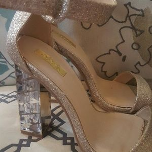Sparkly gold strappy heels
